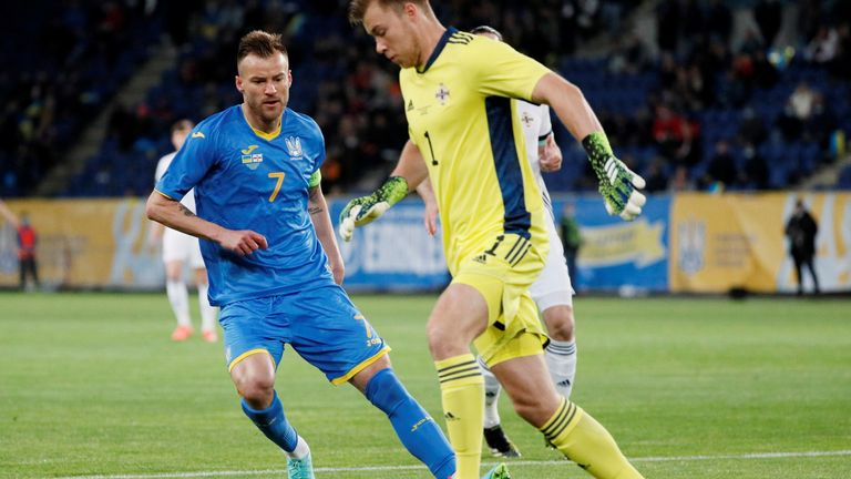 PHOTO: Andriy Yarmolenko from Ukraine to meet Bailey Peacock-Farrell from Northern Ireland in a friendly football match at the Dnipro Arena, Dnipro, Ukraine - June 3, 2021 REUTERS / Gleb Garanich / Archive photo