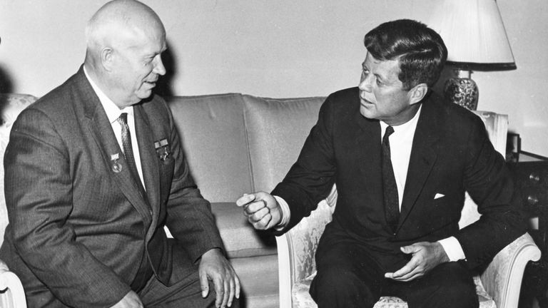 Former United States President John F. Kennedy (R) meets with Nikita Khrushchev, former chairman of the council of Ministers of the Soviet Union, at the U.S. Embassy in Vienna, Austria in 1961