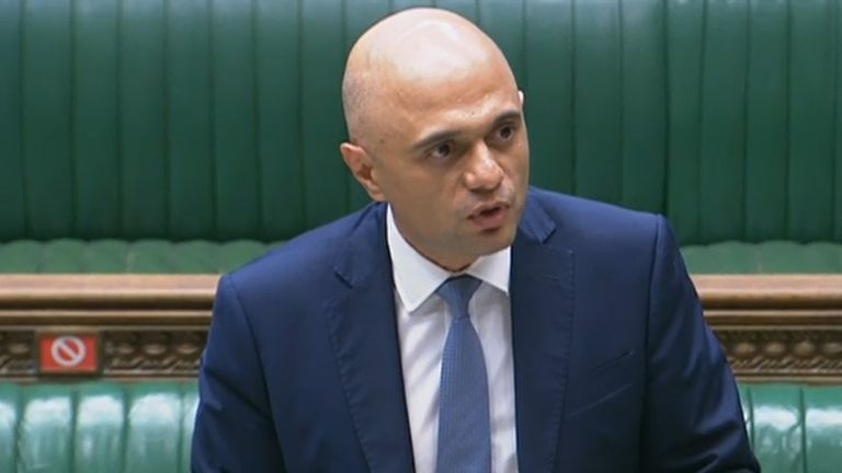 New Health Secretary Sajid Javid reads a statement in the House of Commons