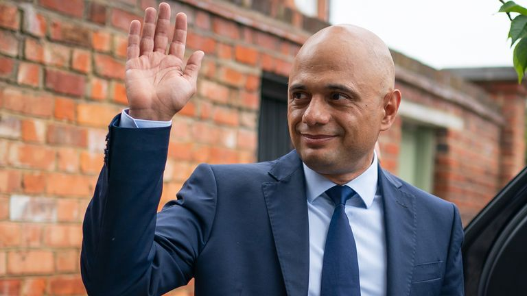 New health secretary Sajid Javid is pictured outside his London home on Sunday