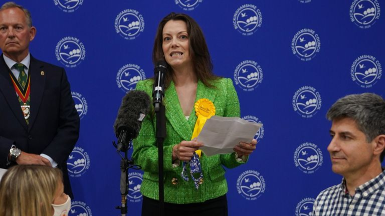 Sarah Green of the Liberal Democrats makes a speech after being declared winner in the Chesham and Amersham by-election