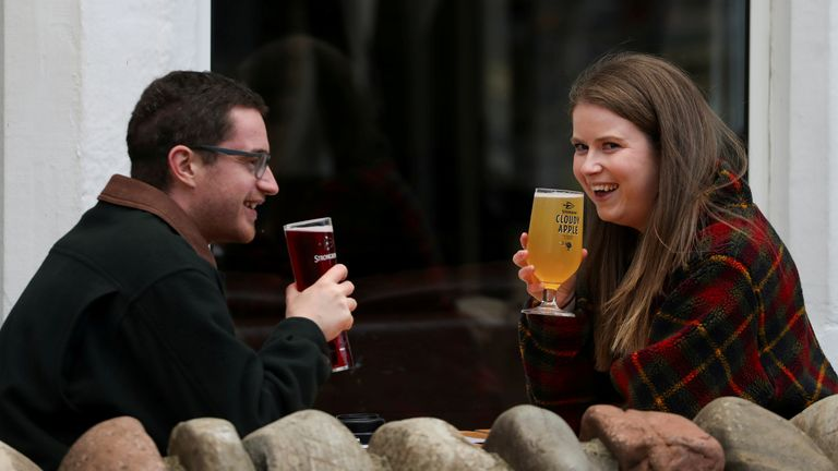 People drink outdoors in Pitlochry