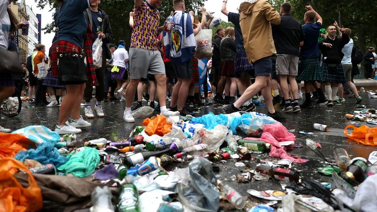 Scotland fans gather in Leicester Square before the UEFA Euro 2020 match between England and Scotland later tonight. Picture date: Friday June 18, 2021.