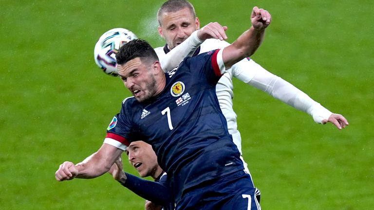 Scotland's John McGinn (front) and England's Luke Shaw battle for the ball during the UEFA Euro 2020 Group D match at Wembley Stadium, London. Picture date: Friday June 18, 2021.