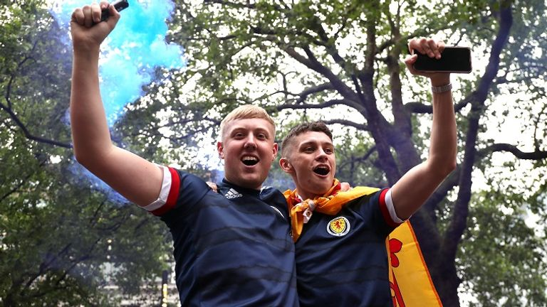 Scotland fans gathered in Leicester Square before the match
