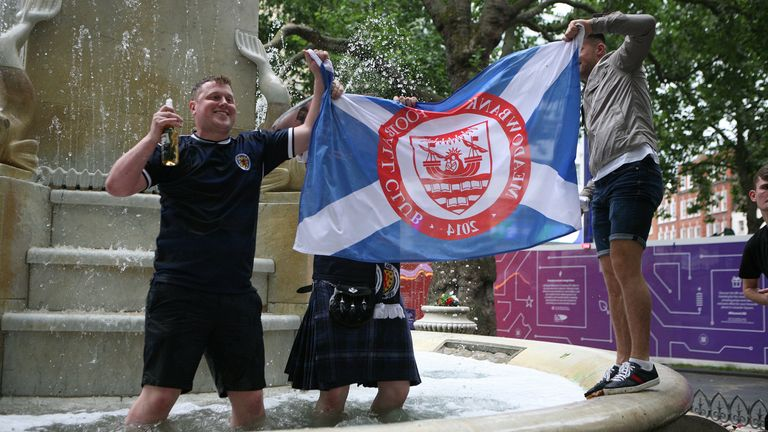 Scotland fans show their support in Leicester Square