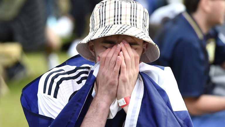Scottish fans were distraught after being knocked out of the competition