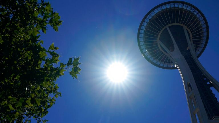 Seattle's famous Space Needle - the city is normally known for its cool, damp climate