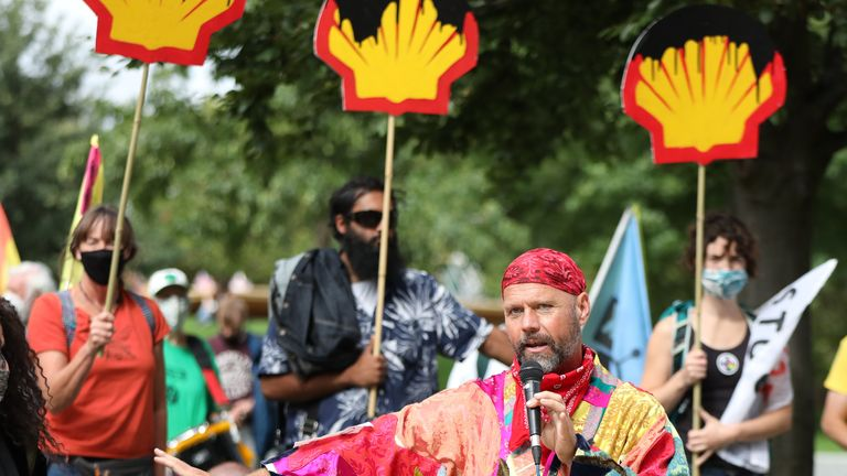 Extinction Rebellion protesters demonstrate outside the Shell Centre, London 8/9/2020