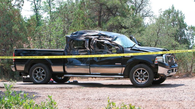 The Ford truck was left with significant damage after hitting the cyclists. Pic: AP