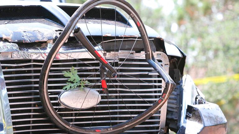 A wheel was left embedded in the front of the truck. Pic: AP