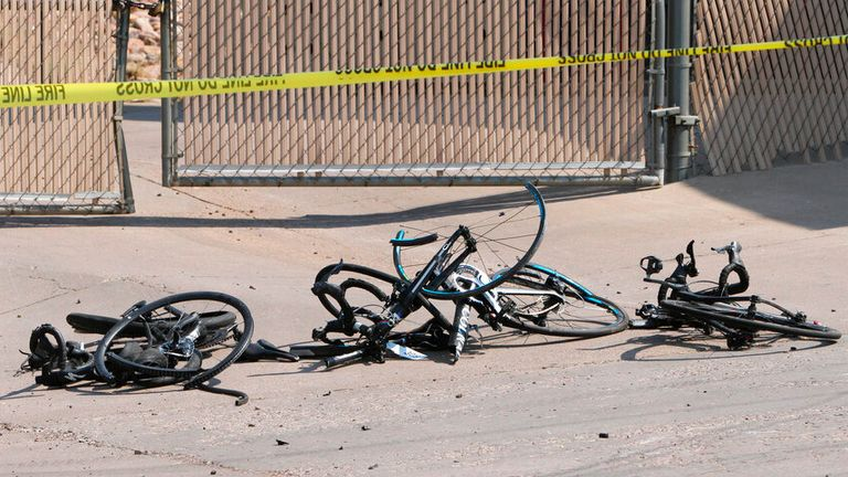 The remains of some of the bikes were cordoned off