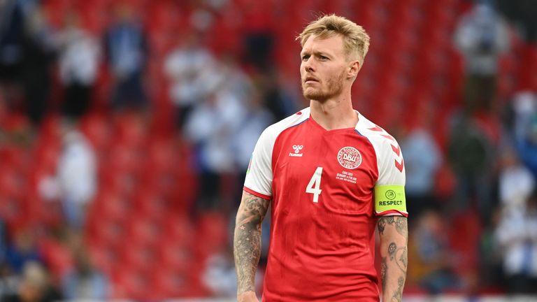 Soccer Football - Euro 2020 - Group B - Denmark v Finland - Parken Stadium, Copenhagen, Denmark - June 12, 2021 Denmark's Simon Kjaer before the match is restarted Pool via REUTERS/Jonathan Nackstrand