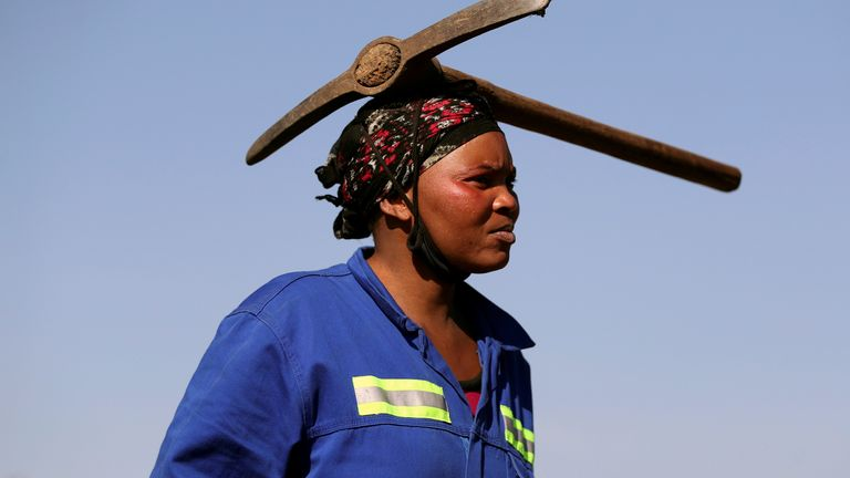 Fortune seekers flock to the village of KwaHlathi in KwaZulu-Natal A woman arrives carrying a pickaxe on her head as fortune seekers flock to the village of KwaHlathi in search of what they believe to be diamonds, outside Ladysmith, KwaZulu-Natal province, South Africa June 14, 2021