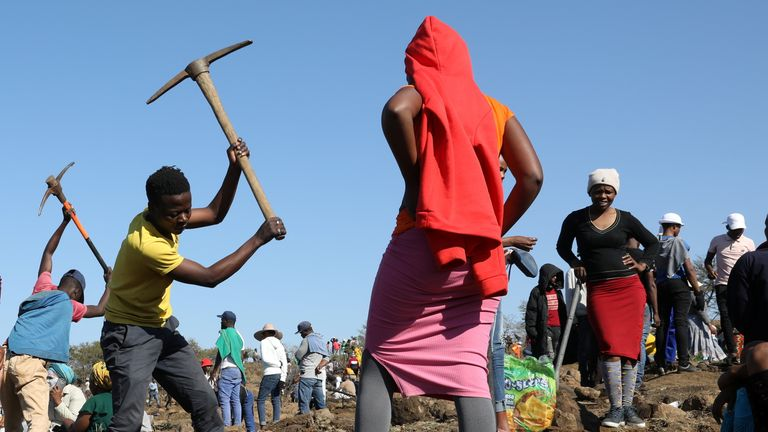 Fortune seekers flock to the village of KwaHlathi, outside Ladysmith, in KwaZulu-Natal province, South Africa
