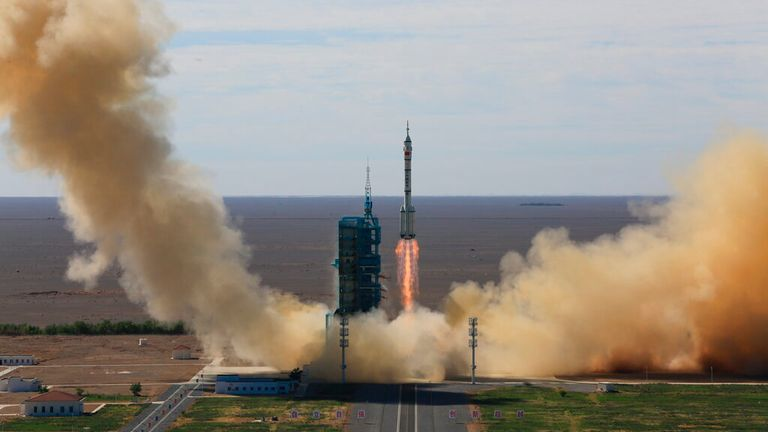 A Long March-2F rocket, carrying three Chinese astronauts on Shenzhou-12 Spaceship, blasts off from the Jiuquan Satellite Launch Center in northwest China Thursday, June 17, 2021. They will stay in the Chinese space station Tiangong for three months.  It is the first Chinese manned space mission in five years and the third of 11 missions planned to complete the construction of China's first long-term outpost in space before the end of next year.