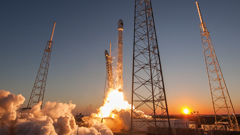The satellites will launch aboard a SpaceX Falcon 9 rocket. Credit: SpaceX