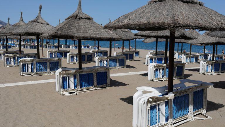 A half empty beach in southern Spain