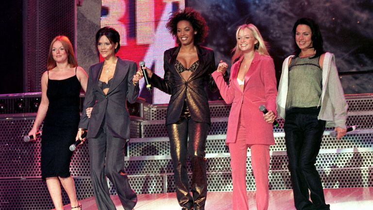 The Spice Girls pictured at a news conference announcing live dates for the summer, in Manchester in April 1998. They laughed off speculation that a split was imminent, but Geri Halliwell announced her departure less than two months later
