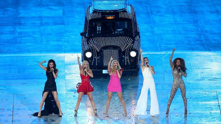 The Spice Girls - Victoria Beckham, Geri Halliwell, Emma Bunton, Melanie Chisholm, Melanie Brown - perform during the London Olympic Games closing ceremony in August 2012