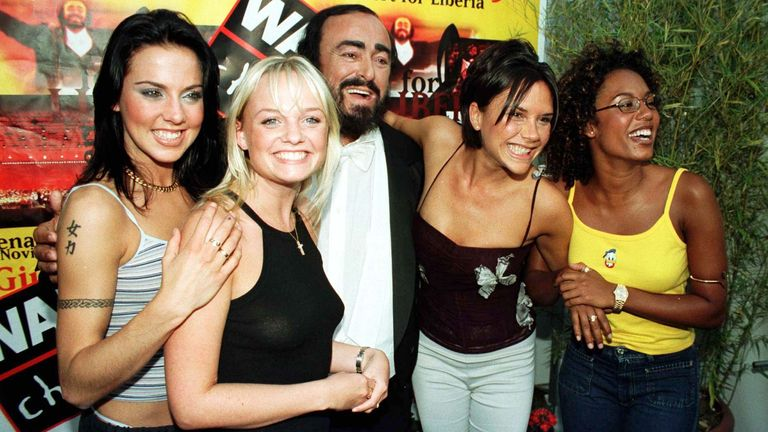 The Spice Girls meet Pavarotti before the Pavarotti and Friends concert for Liberia in Modena, Italy, in June 1998