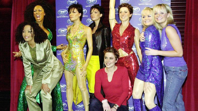 Spice Girls Mel B, Victoria Beckham, Mel C and Emma Bunton with their wax doubles at Madame Tussaud's Rock Circus in London in December 1999. The girls become the first pop band to be modelled as a group since the original Fab Four, The Beatles in 1964.
