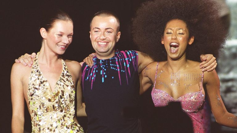 Designer Julien MacDonald is joined by models Kate Moss (left) and Scary Spice Mel B after a catwalk show as part of London Fashion Week, at the Camden Roundhouse