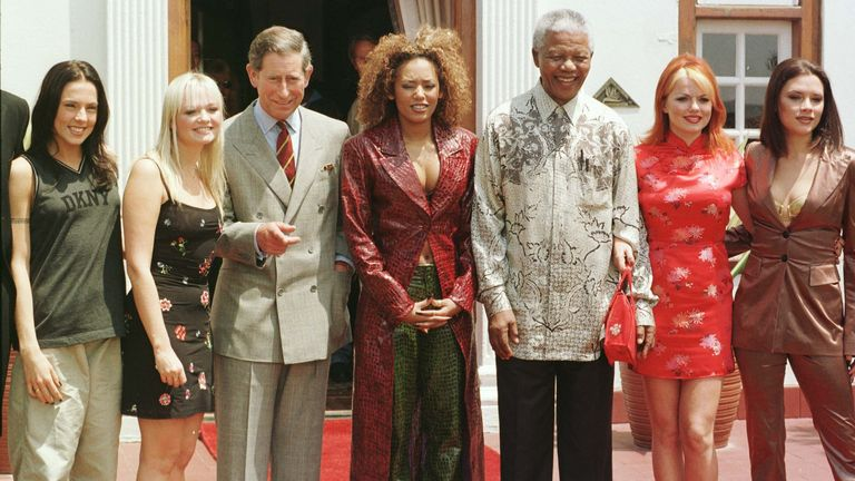 Prince Charles and then South African President Nelson Mandela with the Spice Girls - (left to right): Mel C, Emma, Mel B, Geri and Victoria - at the presidential residence Mahlamba Nalopfu in Pretoria, South Africa in November 1997
