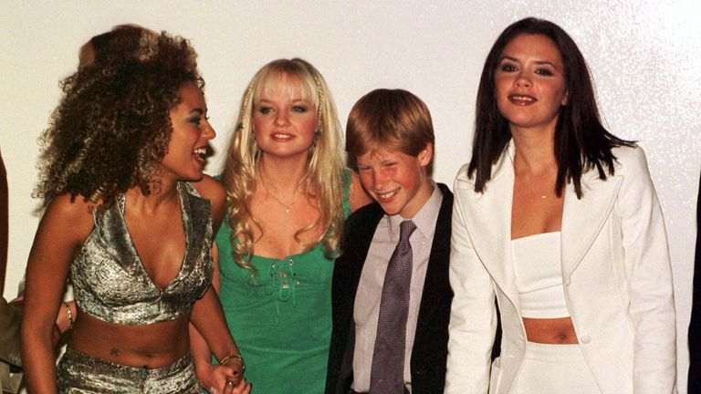A young Prince Harry with Spice Girls Mel B, Emma and Victoria in Johannesburg, South Africa, in 1997