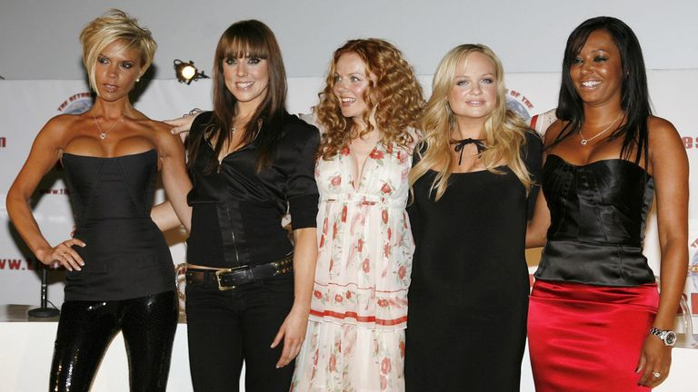 The Spice Girls - Victoria Beckham, Melanie Chisholm, Geri Halliwell, Emma Bunton and Melanie Brown - at a press conference at the O2 Arena in London in 2007, announcing their first reunion