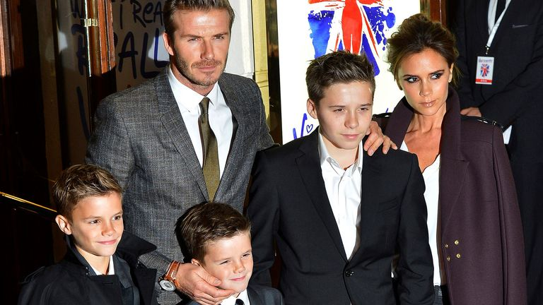 Victoria and David Beckham with children (L to R) Romeo, Cruz and Brooklyn at the premiere of Spice Girls musical Viva Forever in 2012