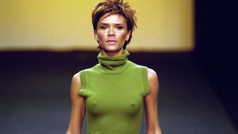 Spice Girl Victoria Beckham makes her debut on the catwalk at the Grachvogels Autumn/Winter Collection 2000 show as part of London Fashion Week.