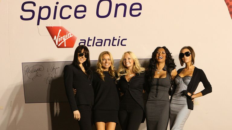 The Spice Girls unveil the new name, Spice One, of a Virgin Atlantic jet at the Flight Path Museum at Los Angeles Airport in 2007