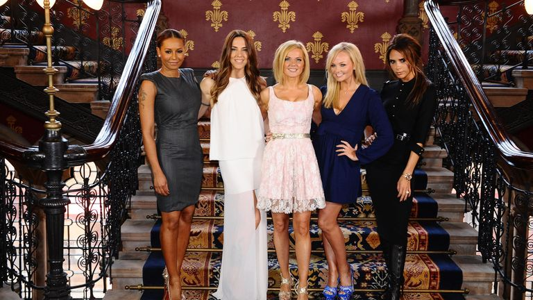 The Spice Girls (from left to right) Melanie Brown (Mel B), Melanie Chisholm (Mel C), Geri Halliwell, Emma Bunton and Victoria Beckham during a photocall at the St Pancras Renaissance Hotel in London to launch Viva Forever
