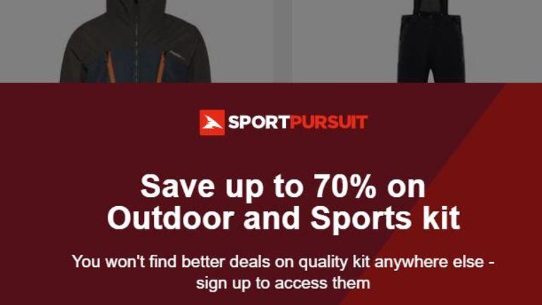 Screengrab from SportPursuit website 16/6/21