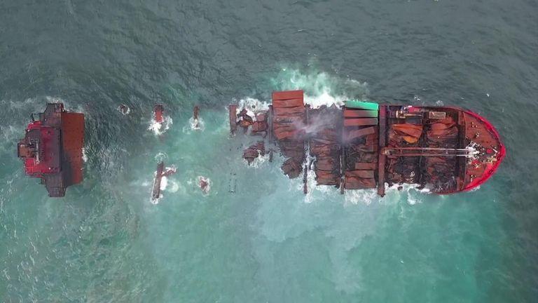Sunken cargo ship in Sri Lanka.
