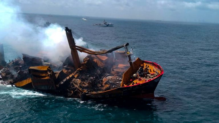 The MV X-Press Pearl vessel was carrying tonnes of chemical material