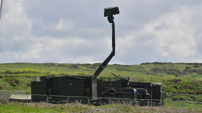 A Mobile radar station set up at the National Trust car park in Godrevy, near St Ives, Cornwall, ahead of the G7 summit