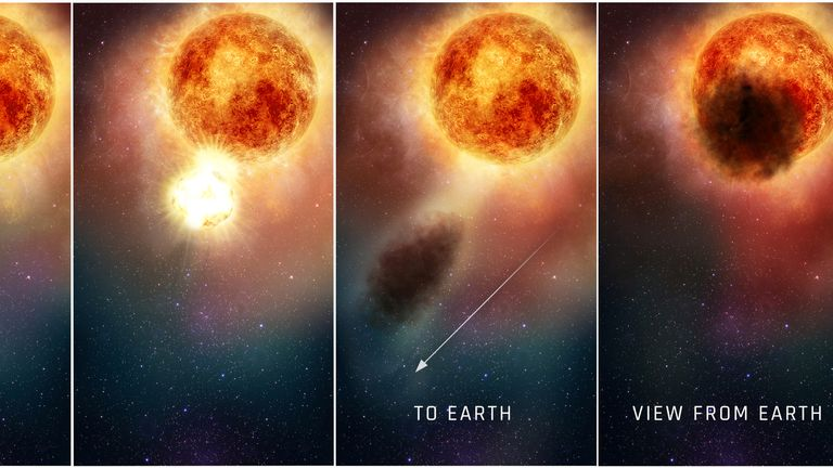 An illustration of the southern region of the rapidly evolving, bright, red supergiant star Betelgeuse