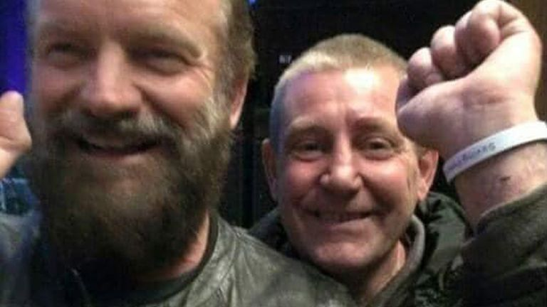 Kevin Anderson (right) picture with Sting, backstage at the singers musical, The Last Ship