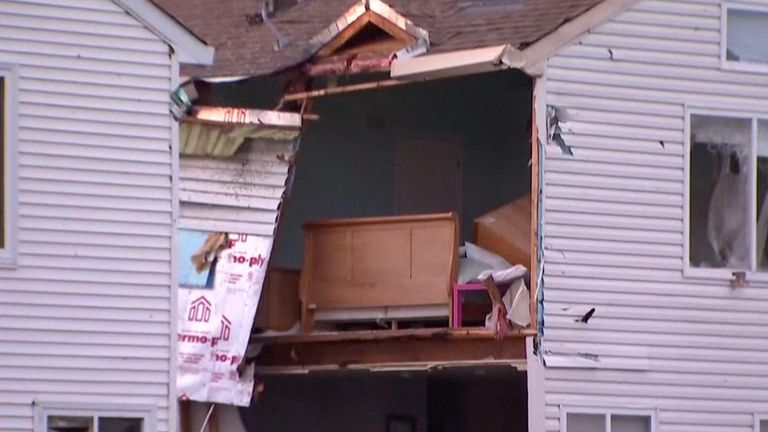 """Severe thunderstorms tore through the Chicago area on Sunday night (June 20) after the National Weather Service said a """"confirmed large and extremely dangerous tornado"""" had touched down in a western suburb of the city, causing damage."""