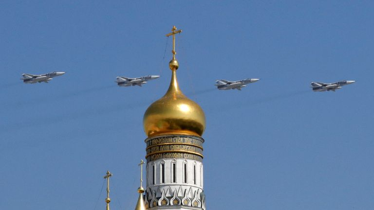 Sukhoi Su-24M bombers pictured over Moscow in May 2019