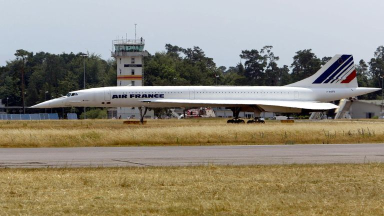 The final flight of an Air France Concorde supersonic airplane ends at the Karlsruhe-Baden-Baden airport in Germany.