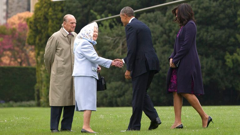 The Queen greets Barack Obama during his final UK visit in November 2016. Pic: AP