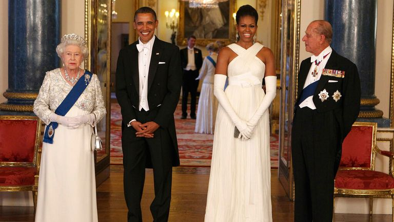 The Queen and Prince Philip and the Obamas at a state banquet in May 2011. Pic: AP