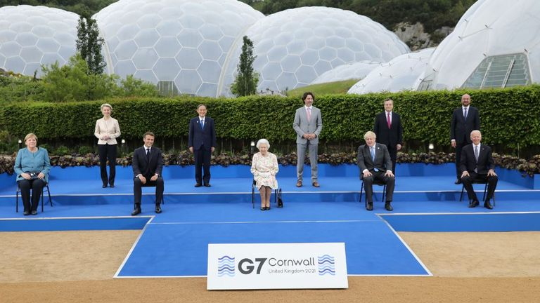 The Queen with G7 leaders at Eden Project in Cornwall