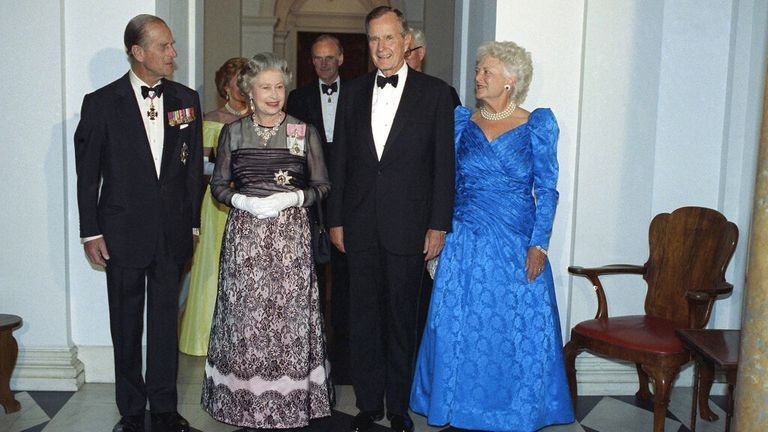 The Queen and Prince Philip are pictured with George Bush Senior and his wife Barbara in May 1991. Pic: AP