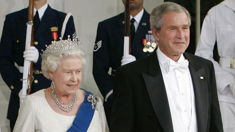 The Queen and George W Bush at the White House in May 2007. Pic: AP