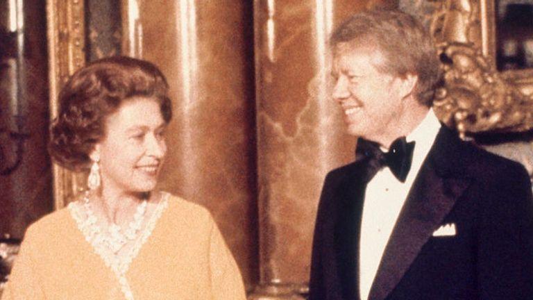 Jimmy Carter met the Queen in London in May 1977, but upset the Queen Mother. Pic: AP