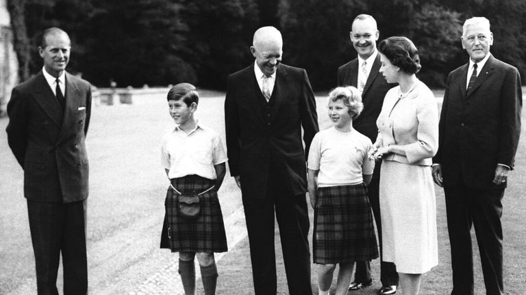 Dwight Eisenhower is pictured with the Queen, Prince Philip, a young Prince Charles and Princess Anne at Balmoral in August 1959. Pic: AP